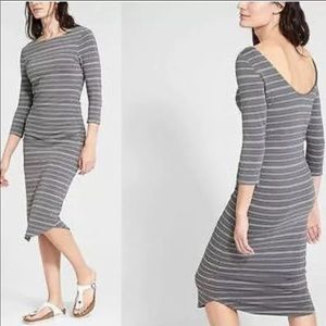ATHLETA XSP Grey Striped Pima Soft Midi Dress